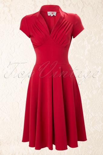 Miss Candyfloss 50s Odette Red swing dress 44 4576 20130226 0003W