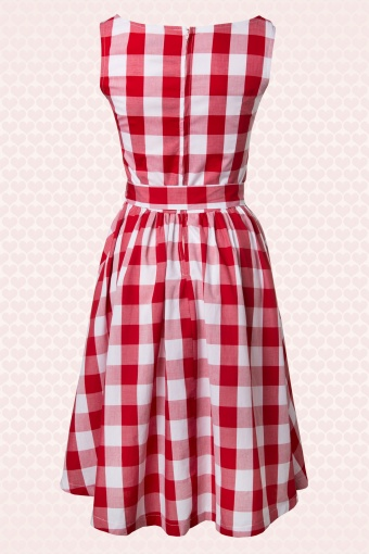 641f6cd85d 50s Audrey Picnic Swing Dress in Red And White