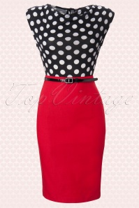 Rock Steady Clothing 60s Vixen Ramona Wiggle Dress red polka 10621 1W