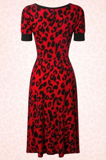 50s Leopard Swing Dress in Red