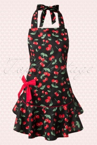 50s Cherry Pie Apron in Black