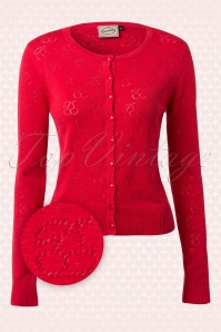 40s Cadillac Cherries Cardigan in Red
