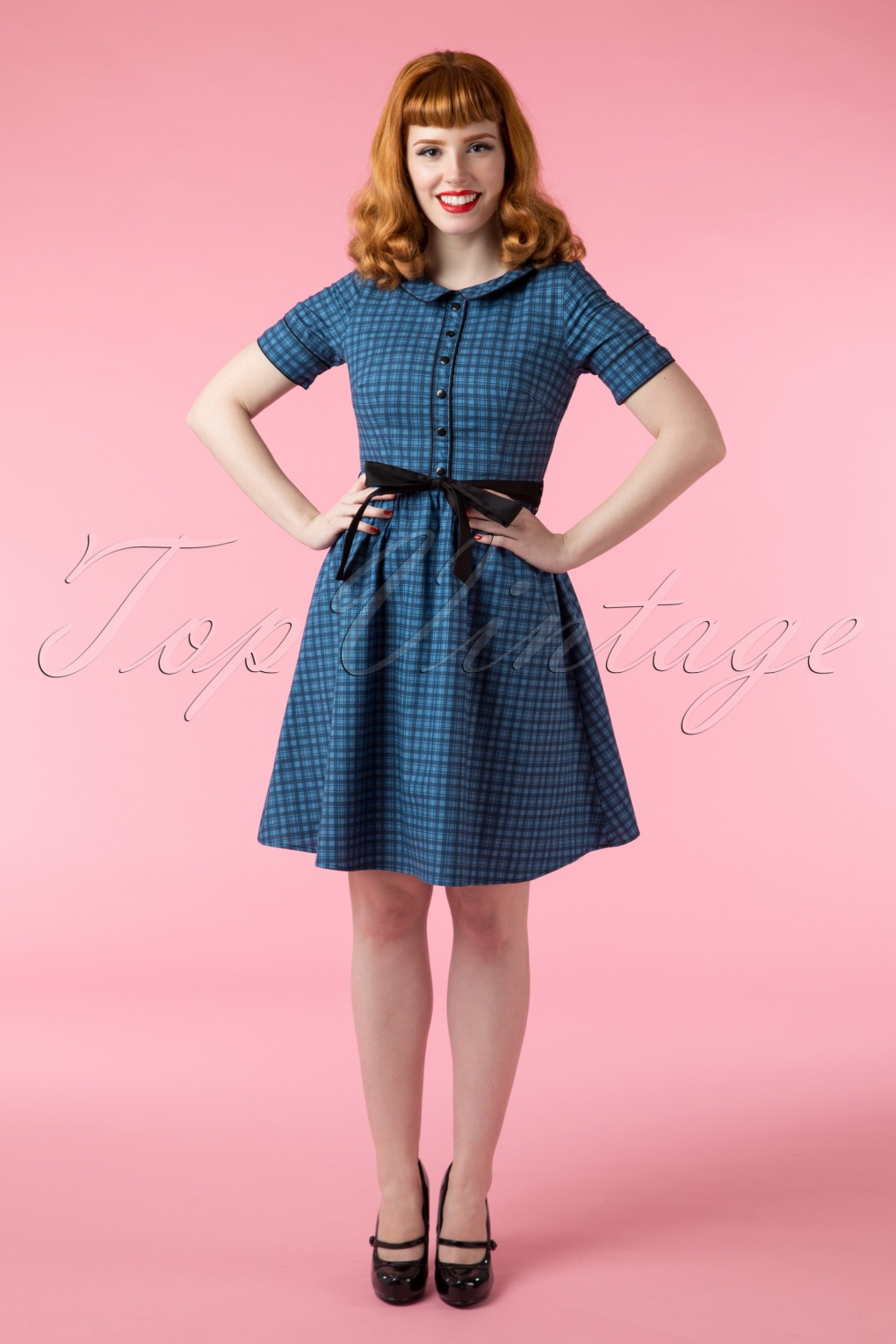 40s Peggy Plaid Dress in Blue