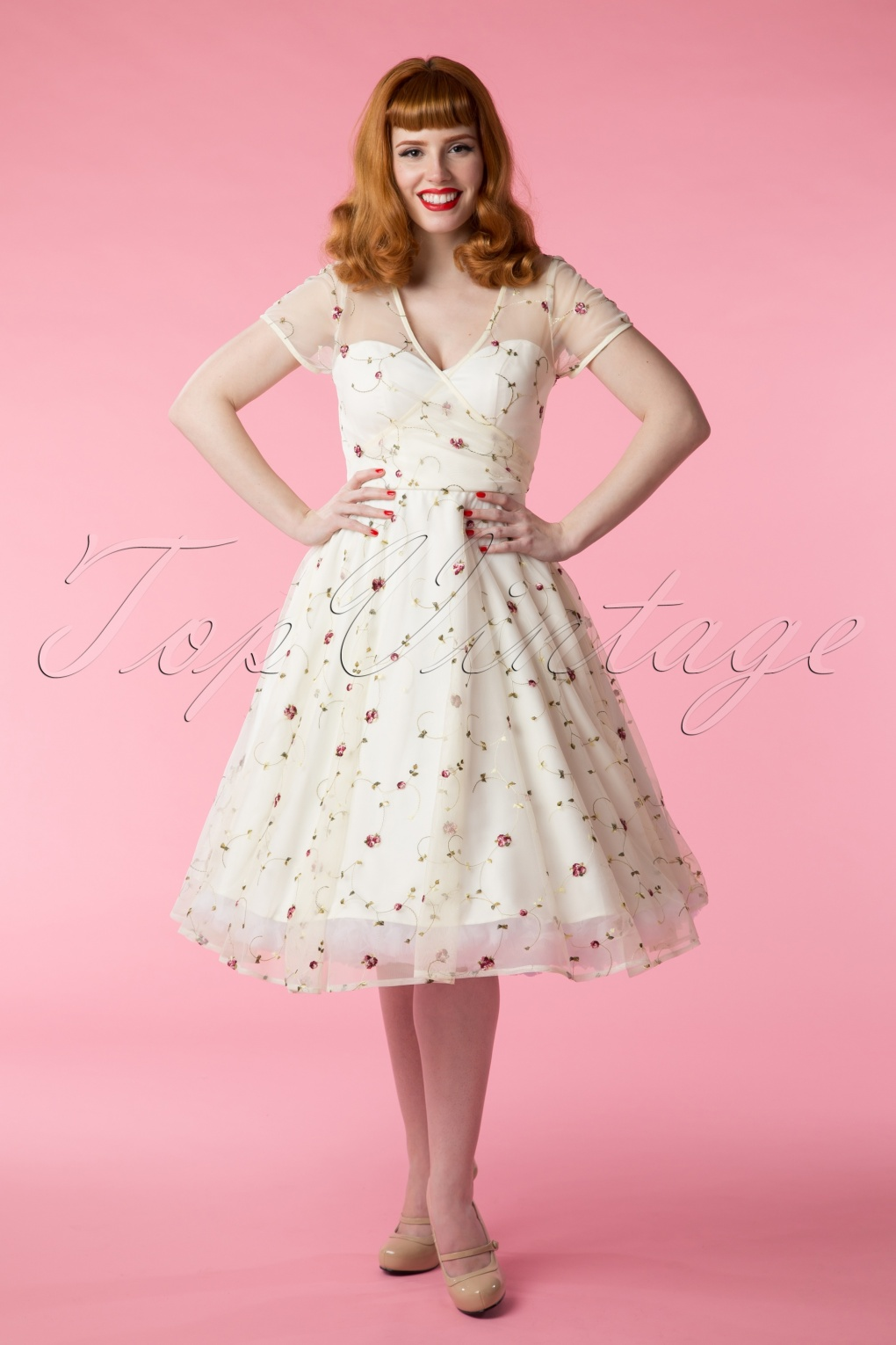 50s Nina Floral Swing Dress In Ivory