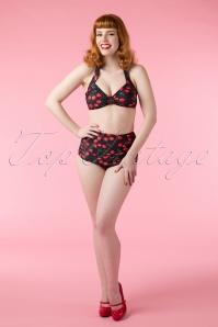 50s Classic Cherry Bikini in Black
