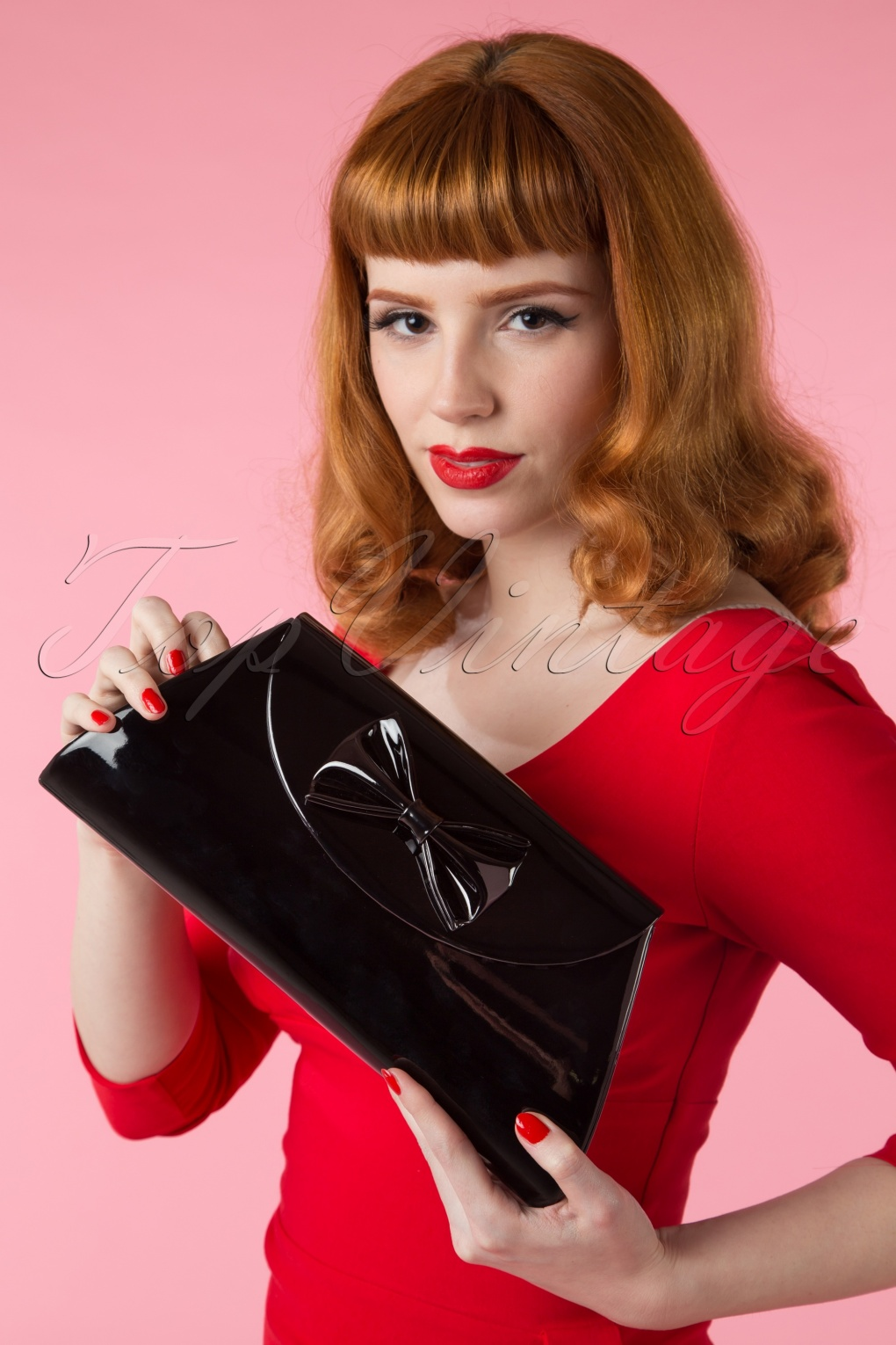 Retro Handbags, Purses, Wallets, Bags 50s Stella Lacquer Bow Bag in Black £30.36 AT vintagedancer.com