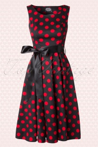 50s Vivian Polkadot Bolero Swing Dress in Black and Red