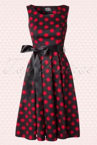Vivian Polkadot Bolero Swing Dress Années 1950 en Noir et Rouge