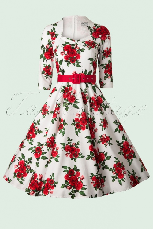 1950s Rockabilly Dresses 50s Eternity Roses Swing Dress in White and Red £60.68 AT vintagedancer.com
