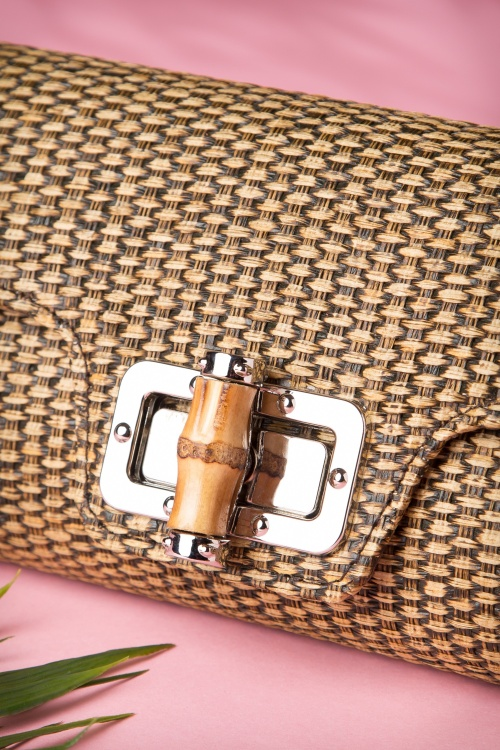 Pink Collectif 50s Vintage Retro Bamboo Clutch