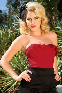 50s Dixiefried Bustier Top in Deep Red