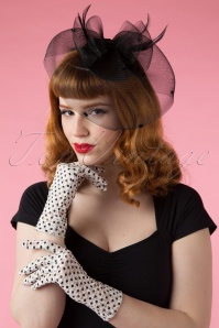 Lady Mary Romantic Polkadot Lace Gloves Années 50 en Ivoire