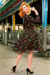 Pinup Couture Long Sleeve Heidi Black Cherry Swing Dress 102 14 15387 2