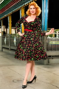 50s Heidi Black Cherry Long Sleeve Swing Dress