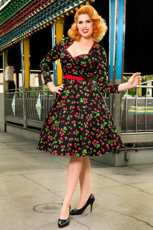 Pinup Couture Long Sleeve Heidi Black Cherry Swing Dress 102 14 15387 3