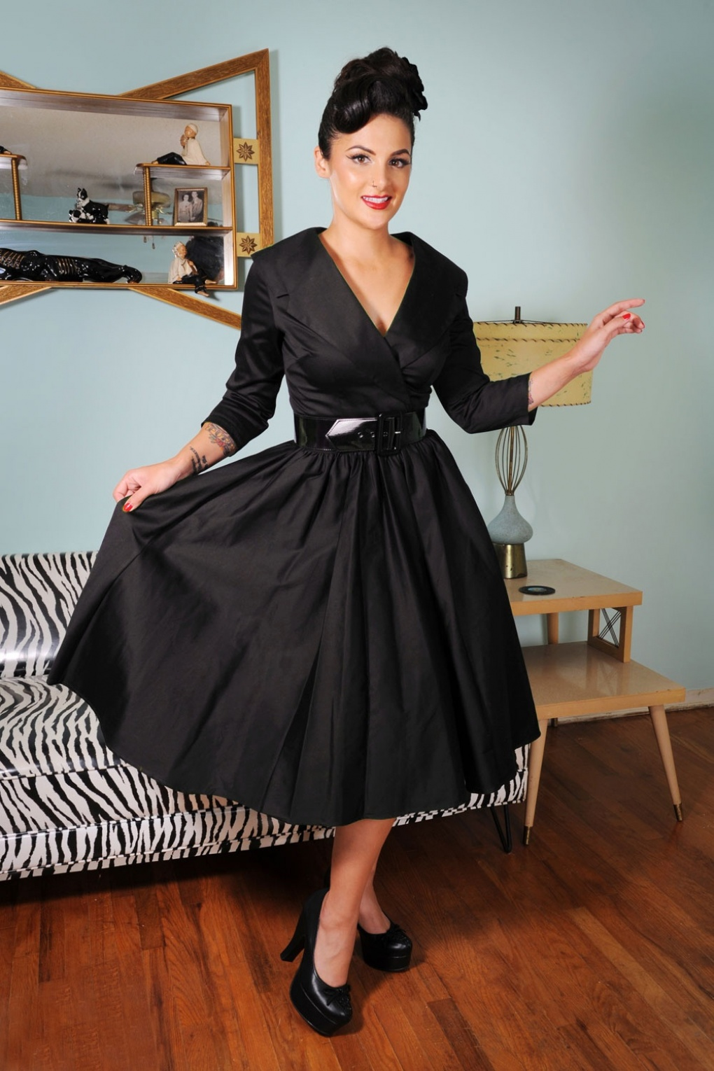 50s Birdie Dress In Black