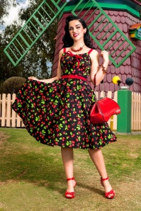 50s Molly Black Cherry Swing Dress