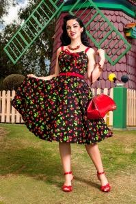 50s Molly Black Cherry Swing Dress