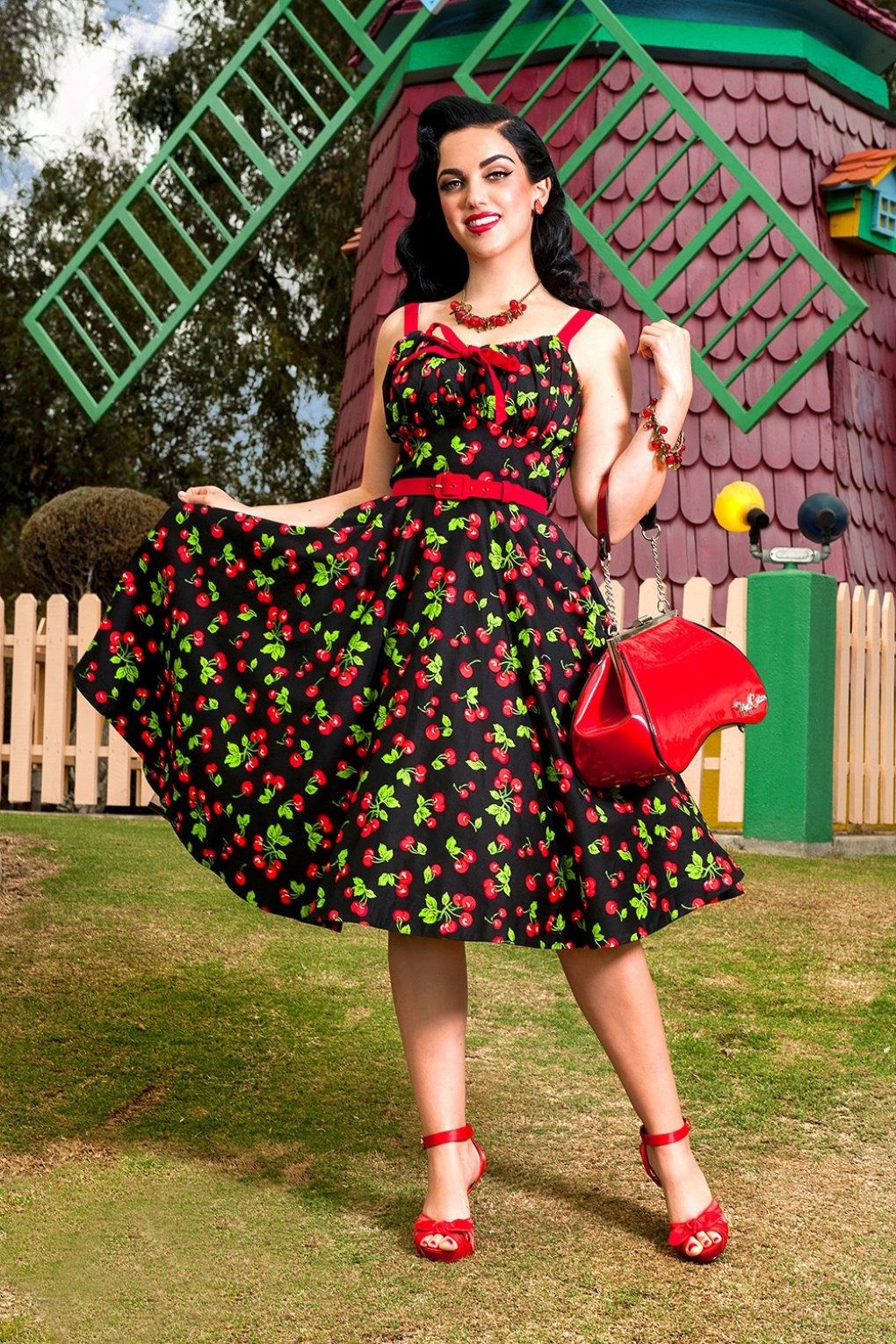 1950s Swing Dresses 50s Molly Black Cherry Swing Dress £143.29 AT vintagedancer.com