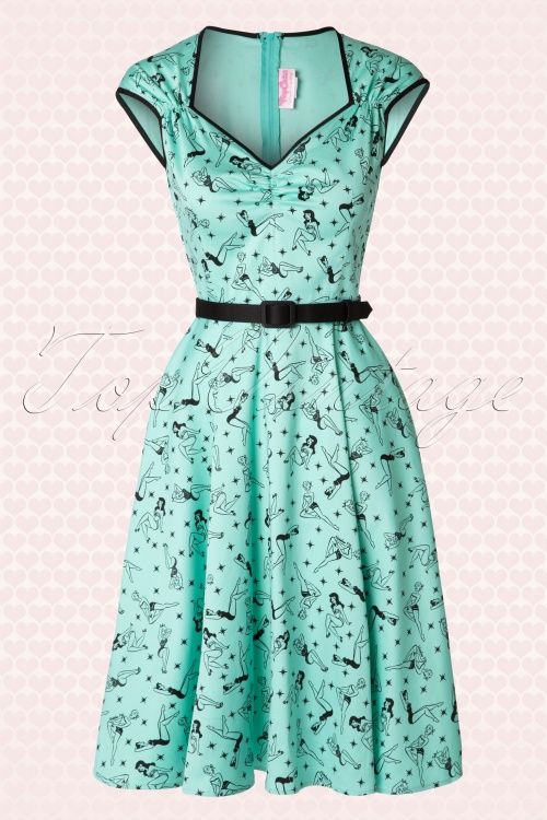 50s Heidi Pinup Swing Dress in Mint