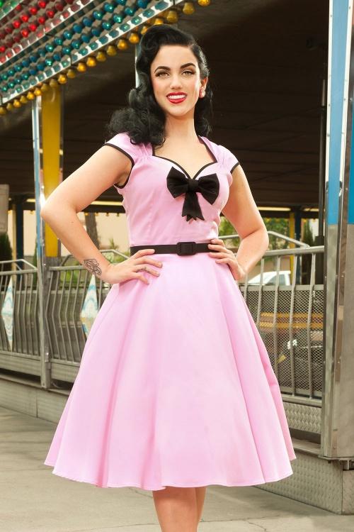 50s Heidi Swing Dress in Baby Pink