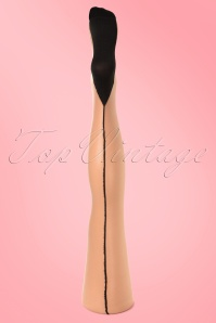 Classic Seamer Tights in Nude with Black seam