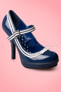 Pinup Couture Shoes  Secretary Mary Jane Velvet Bow Lipstick Blue platform pumps 402 30 12000 20131213 0001WA