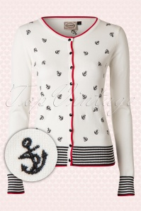 50s Close Call Anchor Cardigan in Ivory