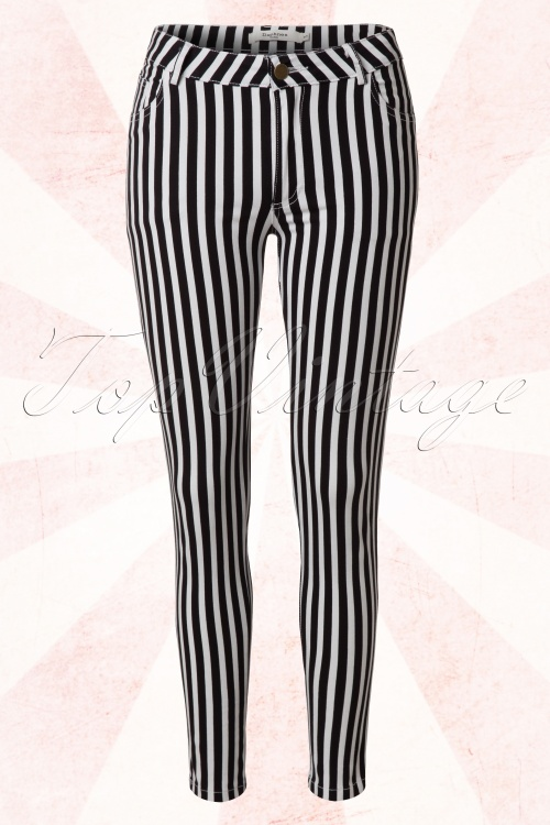 Daphnea Paris Black and White Striped Skinny Trousers 131 14 15175 20150310 0006W