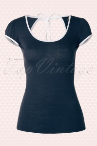 TopVintage exclusive ~ 50s Mindy Top in Navy and White