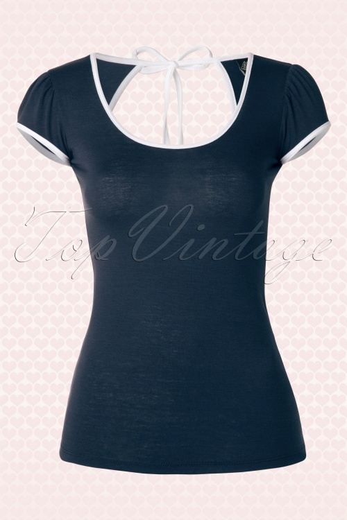 Rock Steady Clothing Rockabilly Navy Blue and White Open Back Top  111 31 14294 20150310 0006W