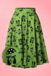 50s Amelia Cat Skirt in Green