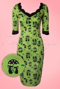 Jade Cat Pencil Dress Années 50 en Vert