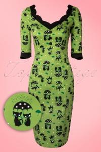 Jade Cat Pencil Dress Années 50 en Vert