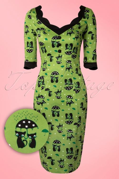 Vixen Green Fun Pencil Cat Dress 100 49 15246 20150208 0007V2