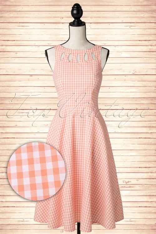 50s Donna Gingham Swing Dress in Peach