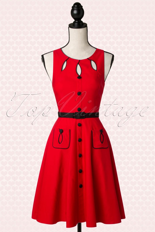 40s Jasmin Red Swing Dress