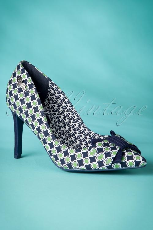 Ruby Shoo Jenna Navy Green high heel Court Shoe