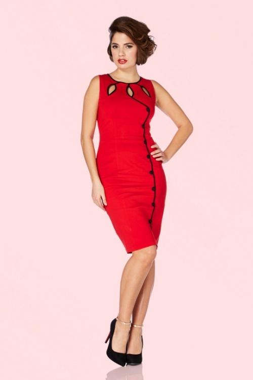 40s Jasmin Red Pencil Dress