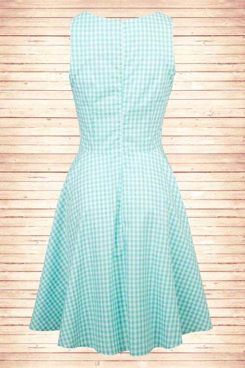 50s Gracey Gingham Swing Dress in Blue