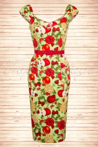 50s Apple Floral Pencil Dress in Green