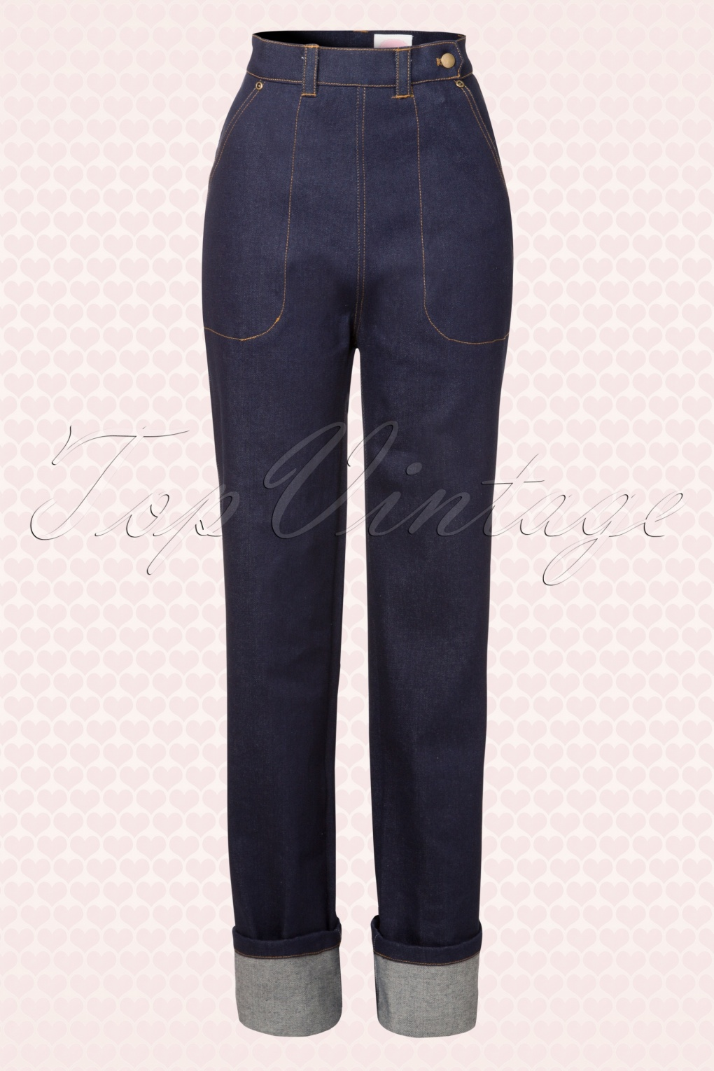 1950s Pants History for Women 50s Norma Jean Jeans in Navy £130.26 AT vintagedancer.com