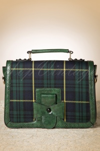 50s Antique Scandal Bag in Green Tartan