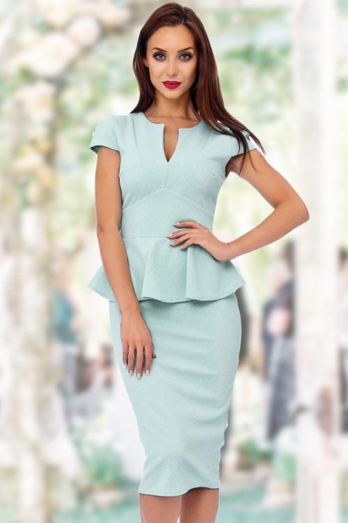 50s Carese Peplum Dress in Mint