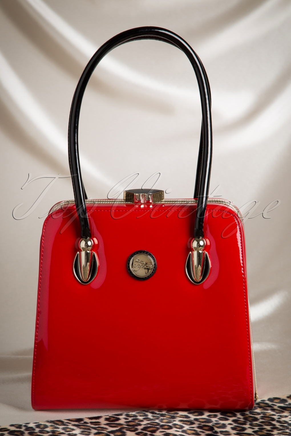 50s Raelene Lacquer Handbag in Deep Red