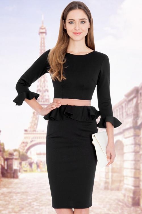50s Sophia Peplum Dress in Black