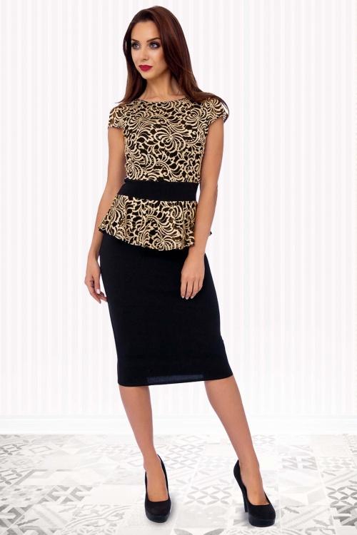 50s Sienna Pencil Dress in Black