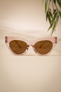 50s Ida Retro Sunglasses in Clear Pink