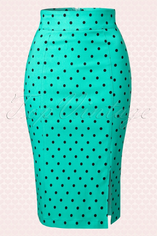 Rock Steady Polkadot Pencil Pinup Skirt 120 49 15094 20150217 0005W