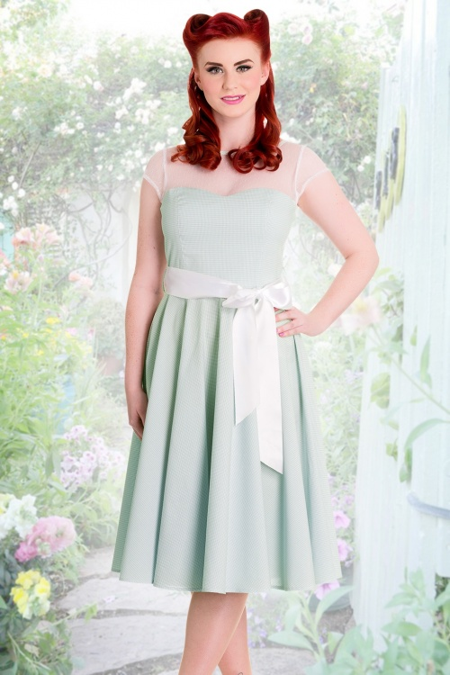 50s Maisy Gingham Prom Dress in Mint